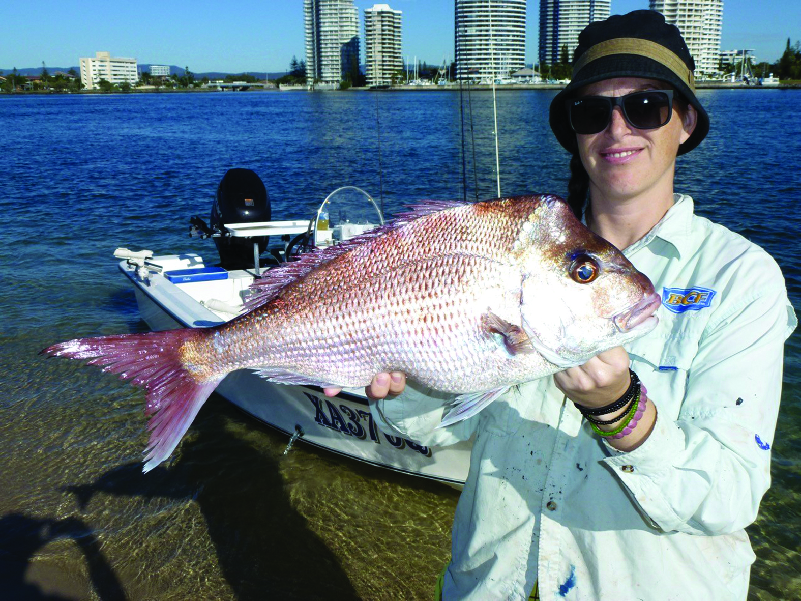 Casey with her PB snapper hooked on the close-in reefs out the front of the Seaway.