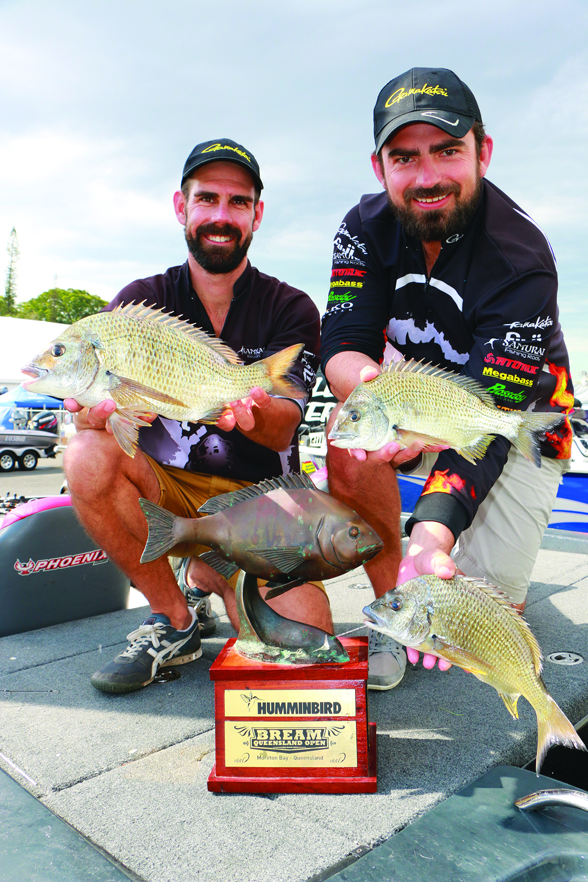 Brisbane dentists Tristan Taylor and David McKenzie showed off some of their 2015 prize-winning catches. The 2016 Spotters Sunglasses Queensland Open BREAM tournament weigh-ins will be a highlight of the Cleveland Caravan, Camping, Boating & 4x4 Expo at the Cleveland Showgrounds from September 23-25.
