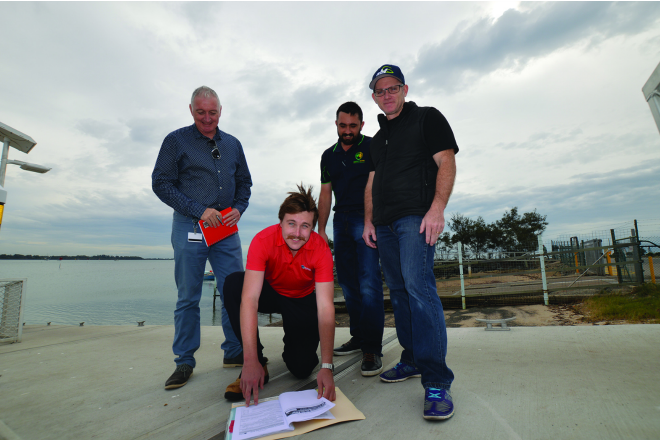 Redlands City Council's Scott McDuff and Brendin Bloye with Patrick Carroll from Australian Events and Simon Goldsmith, the organiser and director of the 2016 Spotters Sunglasses Queensland Open BREAM tournament finalised plans for the weigh-ins that will be held in conjunction with the Cleveland Caravan, Camping, Boating & 4x4 Expo.