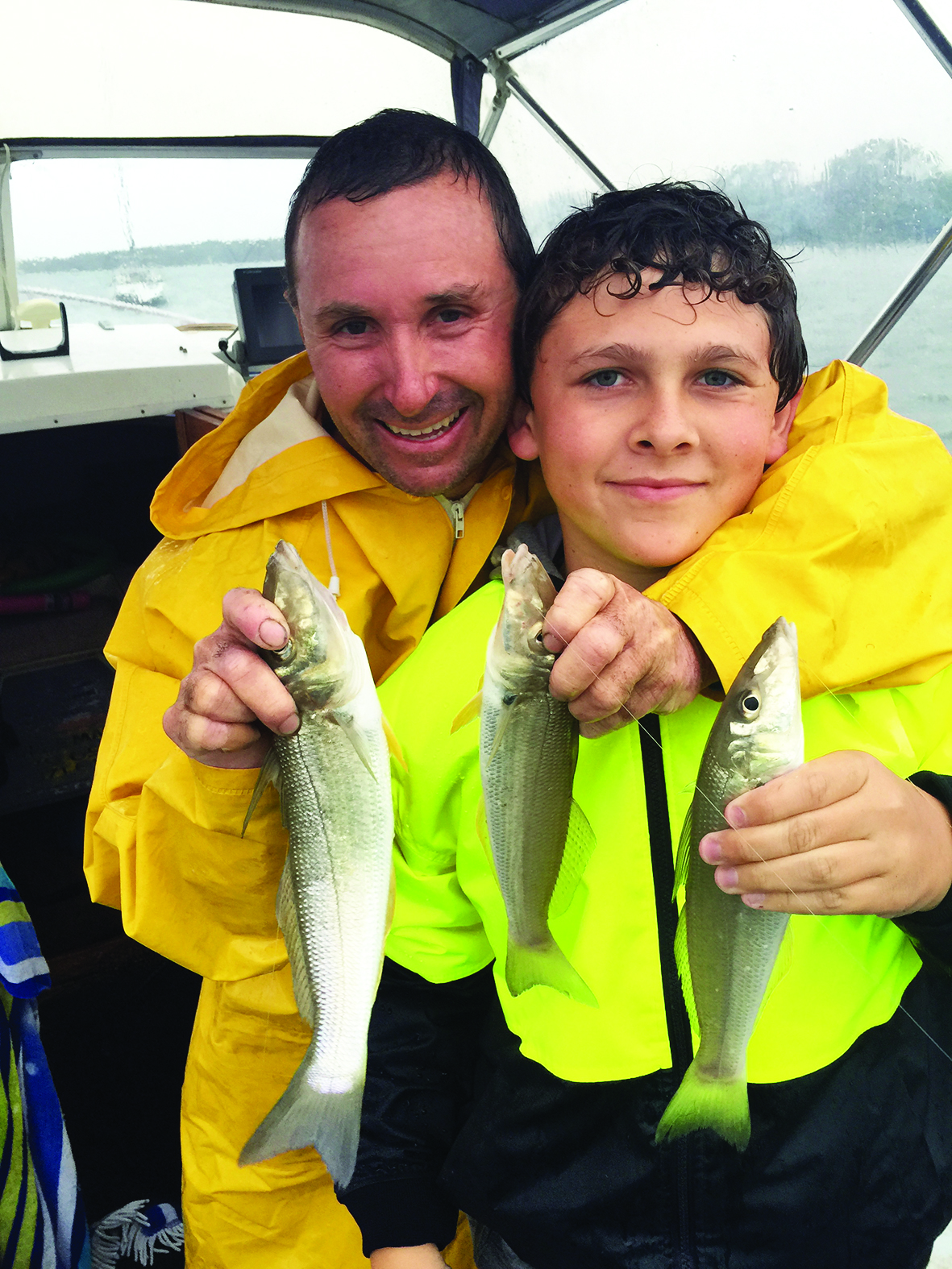 A very wet author and Cade with a few ripper whiting.