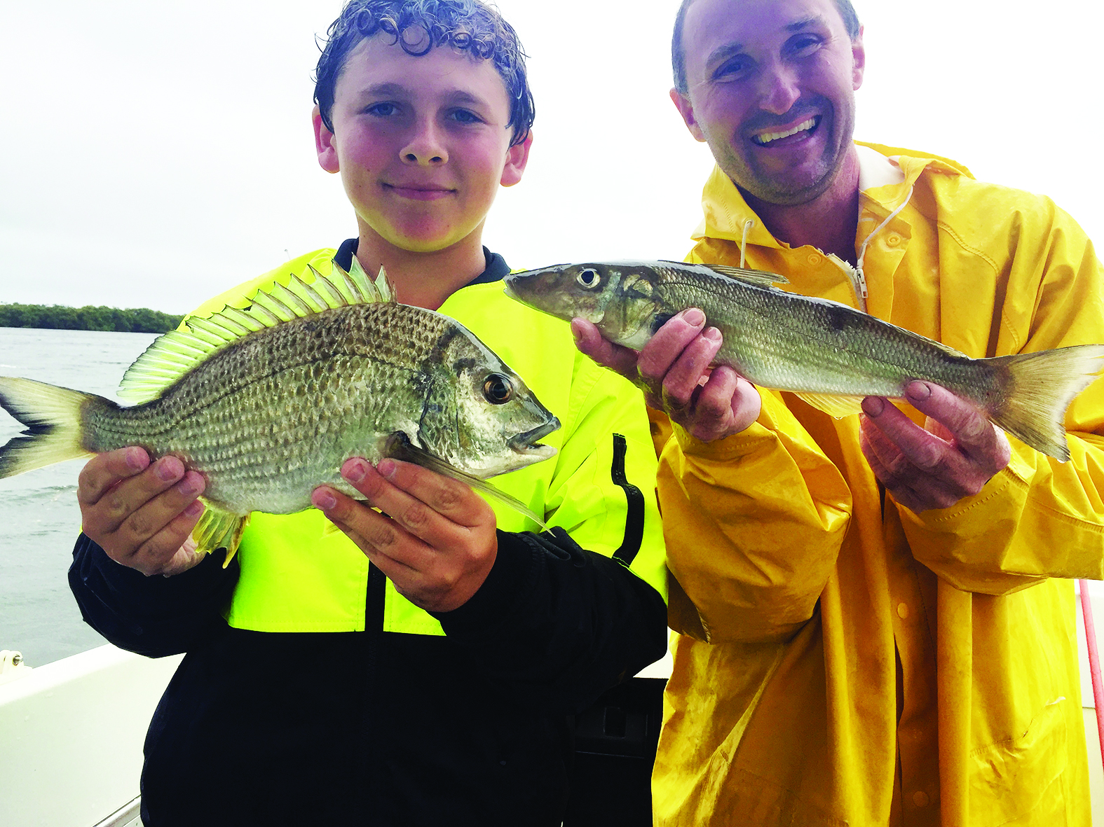 Cade's bream and the author's good-sized 40cm whiting.