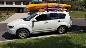 Large and small kayaks can be nested together. Use trial and error to work out the best method.