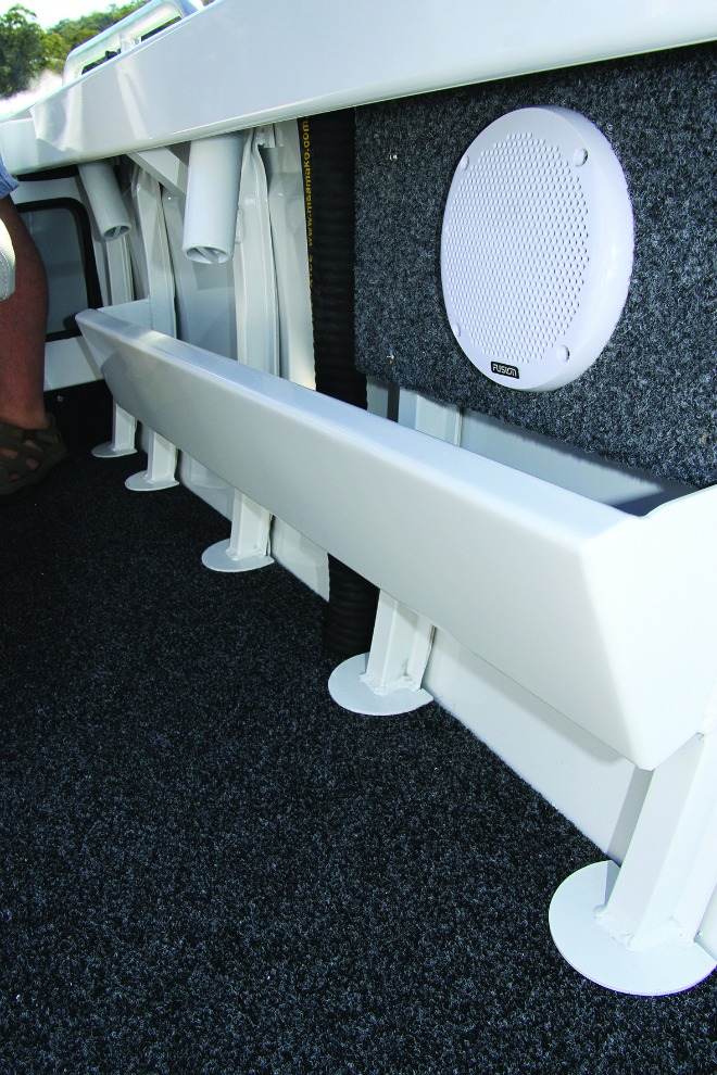 Side pockets provide additional storage. The test boat was also fitted with a Fusion sound system.