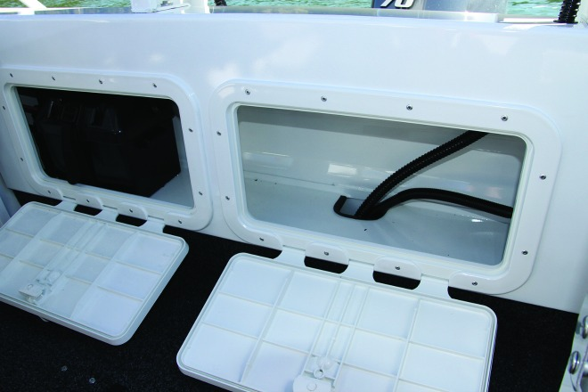 The transom area provides an elevated position in which to store the batteries and gives extra room for more gear.