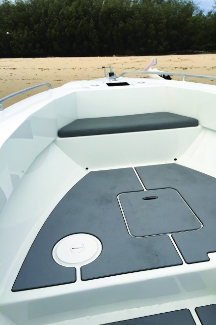 Front cast deck includes a provision for a pedestal seat as well as a padded front cushion knee rest and copious amounts of fishing room.
