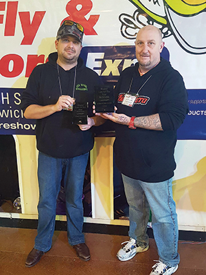 The author with second place and Jason from COD-X Lures with first place at the Australian Bladed Lure of the Year awards.