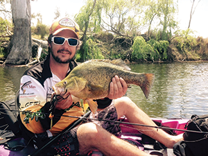 Chris with a solid yellowbelly caught on a Mulwala Spinnerbait.