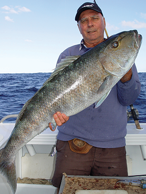Terry with a huge 14kg green jobfish that fell to a live yakka. These fish look mean and fight very hard.