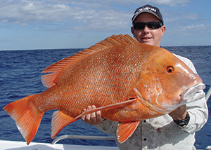 Brett Seng is no stranger to catching big fish. He upgraded his PB red emperor three times on the trip and ended up with this 15kg beast wide of Fraser Island.