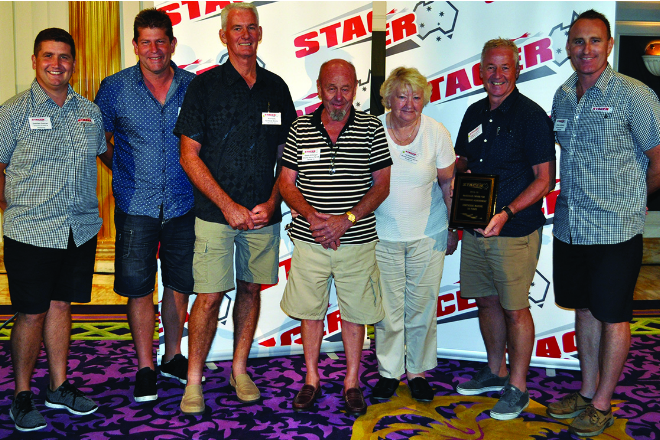 Damien Duncan (Stacer director of marketing and sales), Bill Hull (Northside Marine), Rod Keats (Northside Marine), Dennis McKeegan, Pat McKeegan, Greg Nickerson (Northside Marine dealer principal) and Drew Jackson (Stacer national account manager).