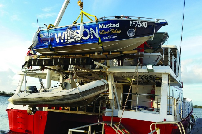 The Wilson Fishing boat stowed safely on board. If you want to take your own vessel along, just have a chat with the team when booking your charter to see if it's possible.