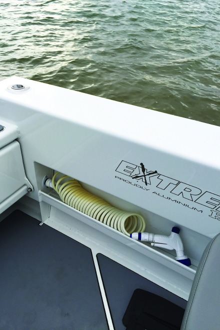 The optional deck wash is a great idea considering the rugged nature of the boat.