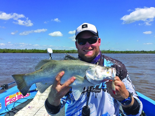 This just-legal barra took a Samaki Vibelicious jigged near a rock pile in the Fitzroy River.