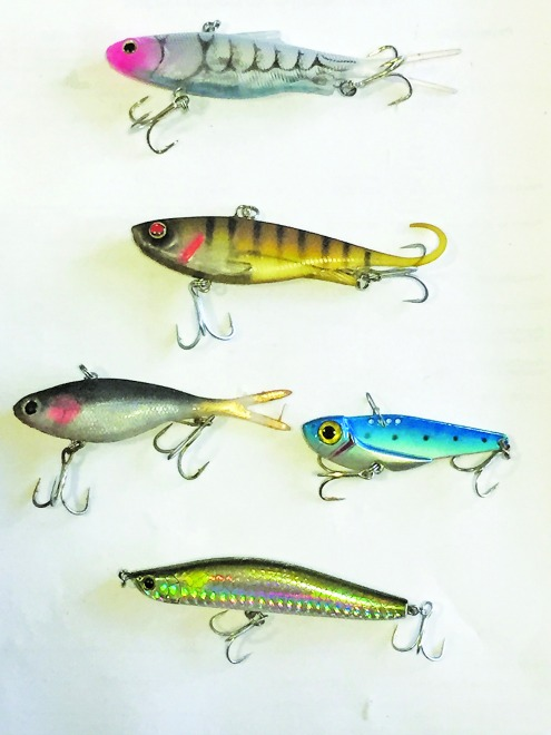 Vibration lures from top to bottom: Samaki Vibelicious, Zerek Fish Trap, Threadybuster (left), metal blade (right) and Kamikaze 96S Sinking Stickbait.