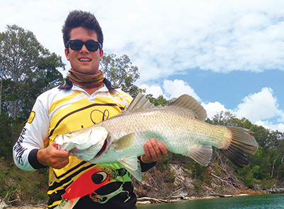 "A barra caught on a Z-Man 3"" paddle tail."