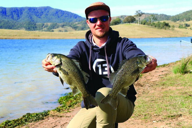 Patrick Bailey from Toowoomba with two solid St Clair bass.