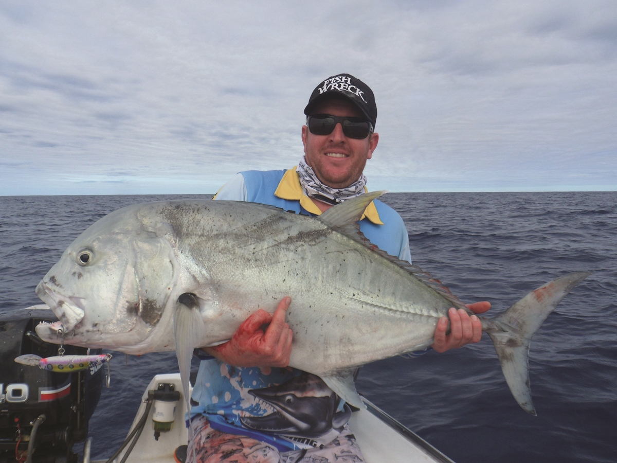 Matt's best GT of the trip. The fish went 25-30kg and was trolled up on a Zerek Pelagic Z 180mm.