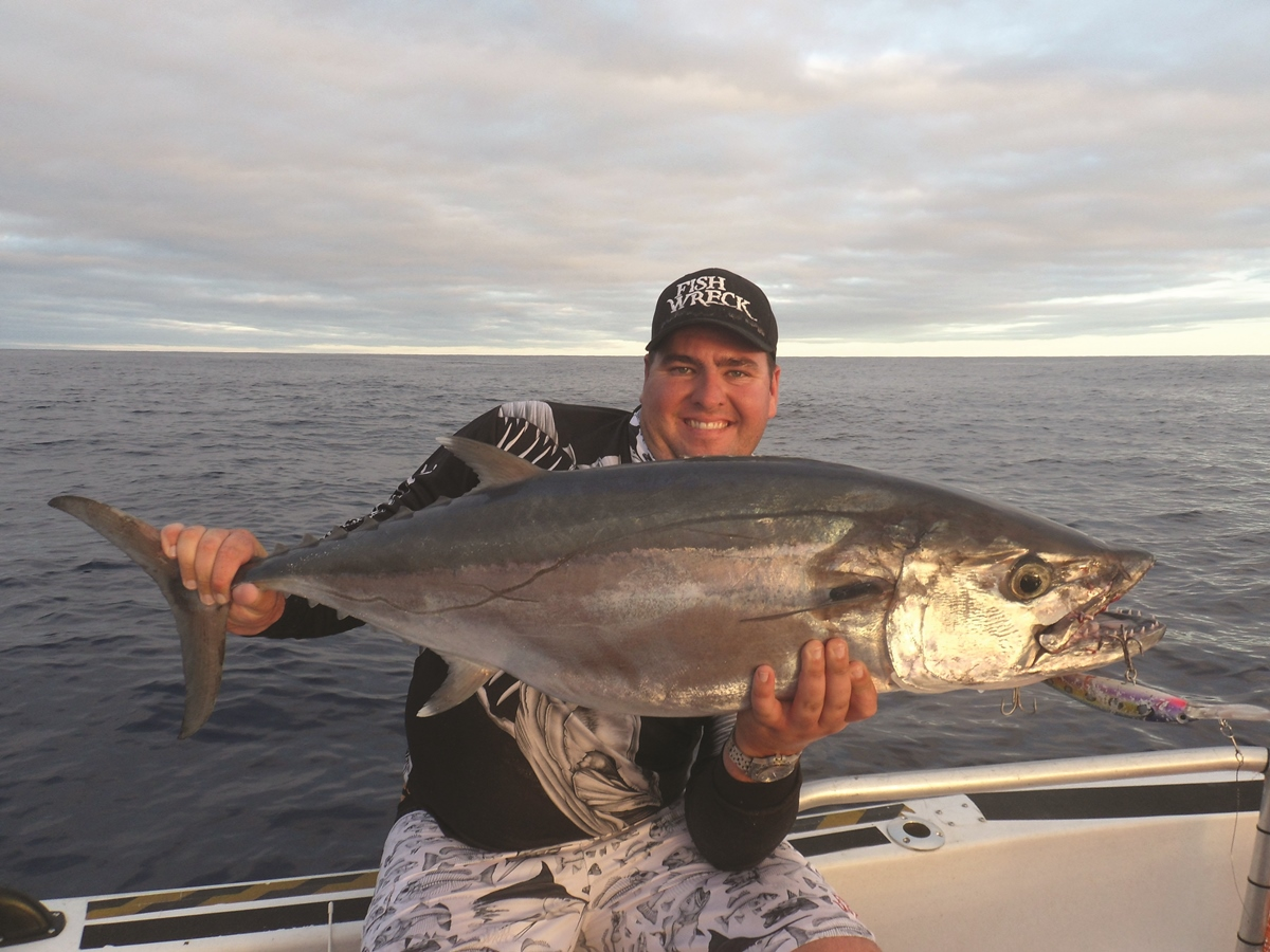 A solid dogtooth tuna Nick trolled up on a Zerek Pelagic Z 180mm. These things have serious pulling power.