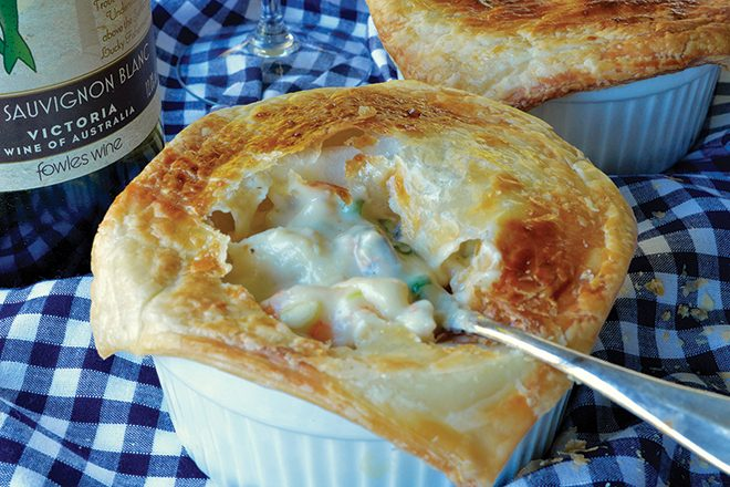 Seafood mornay pot pies recipe