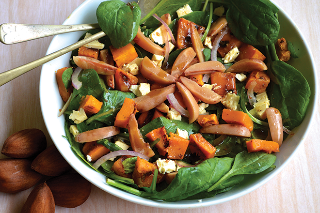 spinach pumpkin bunya nut salad