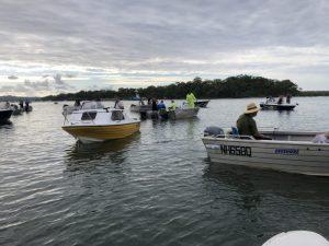 Plenty of boats cast netting fro prawns